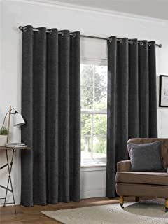 Yale Heavyweight Chenille Eyelet Ring Top Lined Pair Of Curtains Polyester Charcoal Grey