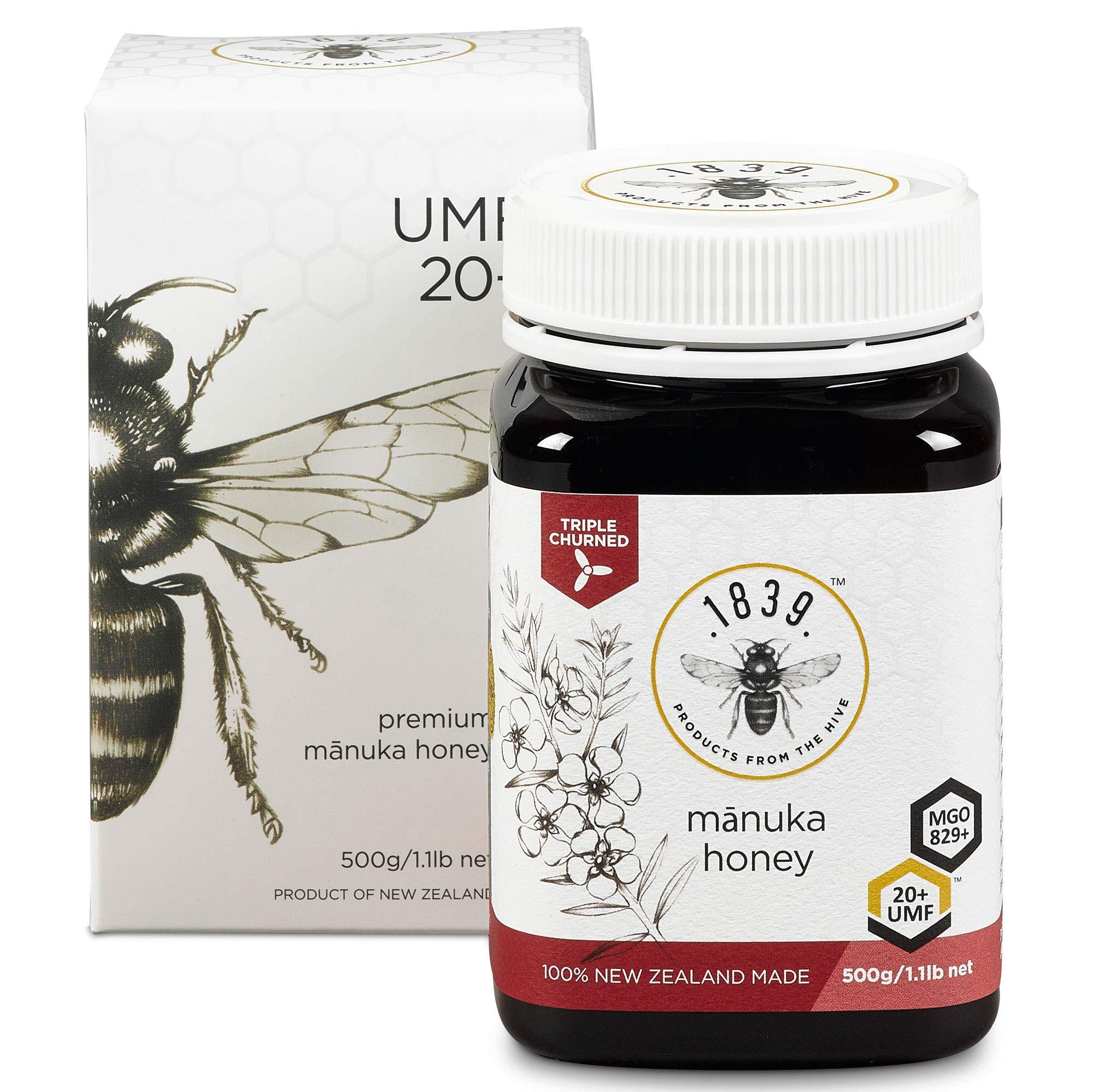 1839 Honey UMF 20+ Premium Manuka Honey (MGO 829+), 500g (1.1lbs)