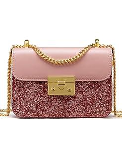b2b4c72402 LA FESTIN Ladies  Fashion Shoulder Chain Purse Small Glitter Side Bag for  Girls PU