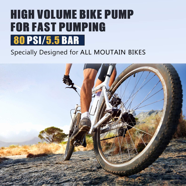Bomba de pie para Bicicleta Mini Bomba de Aire port/átil de Alta presi/ón para inflar el Piso para neum/áticos Negro OKBY Bomba de Bicicleta