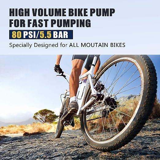 Yosoo Health Gear Mini Bicycle Pump Black Portable Bicycle Floor Pump Bike Hand Air Pump with Mounting Bracket for Mountain Bike Mountain Bike