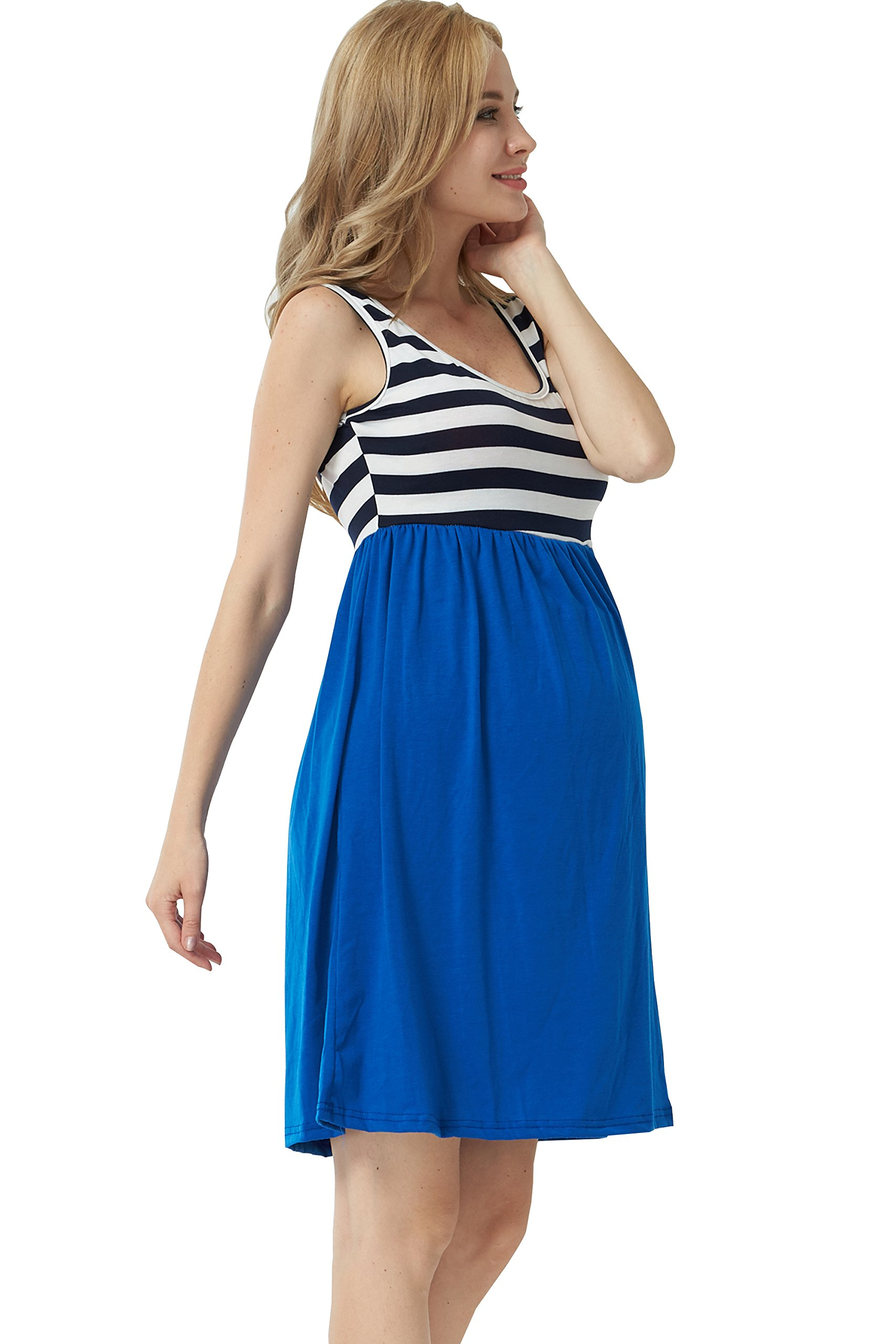 MANNEW Maternity Maxi Dress Pregnancy Tank Tops Knee Length Stitching Color Block Stripe Skirt (Blue, X-Large) by MANNEW (Image #4)