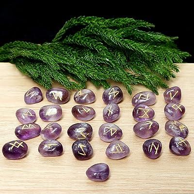 15-20 mm Crocon Rose Quartz Gemstone Rune Stone with Elder Futhark Alphabet Engraved Symbol 25 pcs Set for Feng Shui Energy Generator Reiki Crystal Healing Chakra Balancing Metaphysical Decor Size