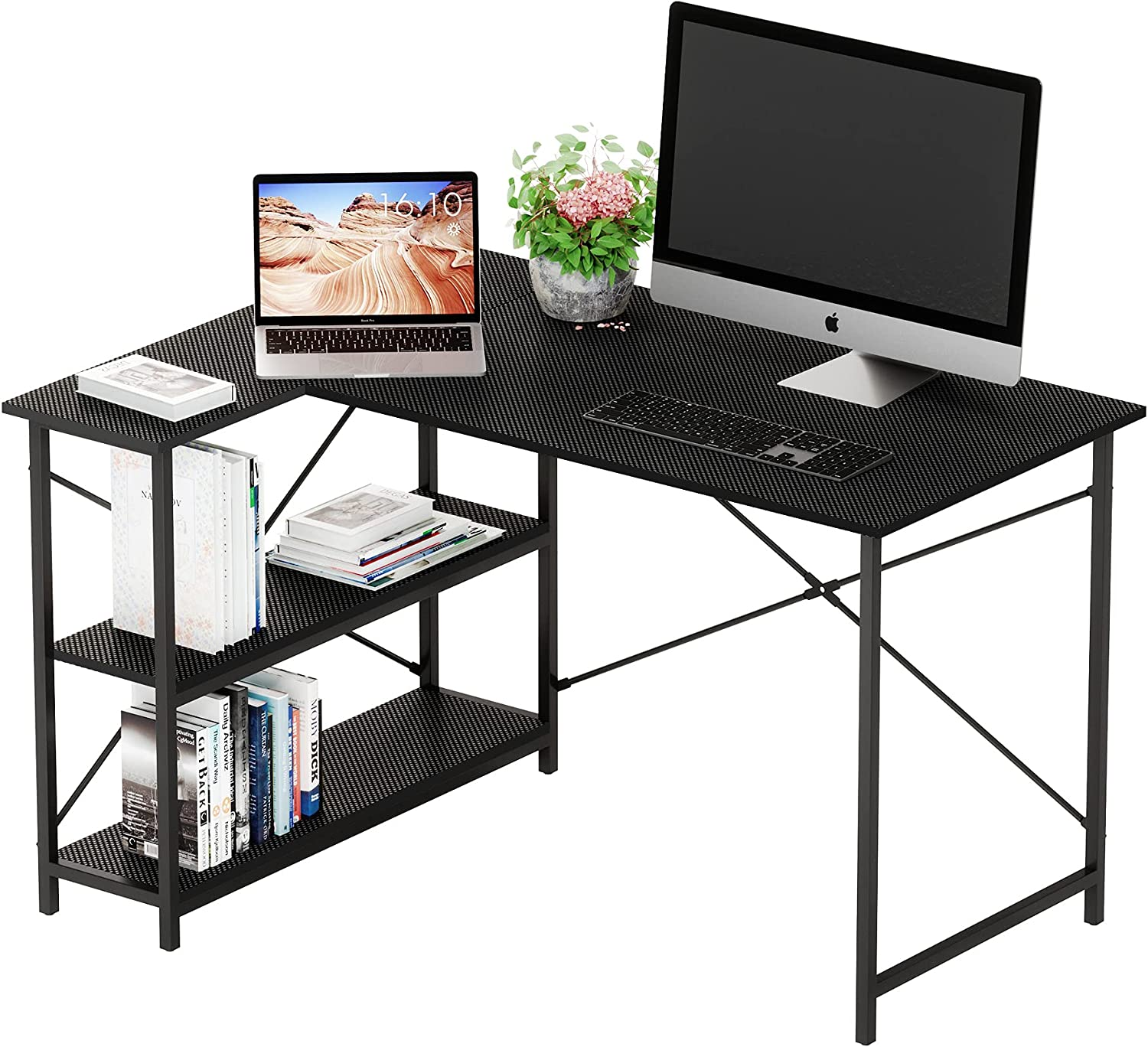 Bestier Small L-Shaped Desk with Storage Shelves 47 Inch Corner Desk with Shelves Writing Desk Table with Storage Tower Shelf Home Office Desk for Small Spaces P2 Wood (Black, 47 Inch)