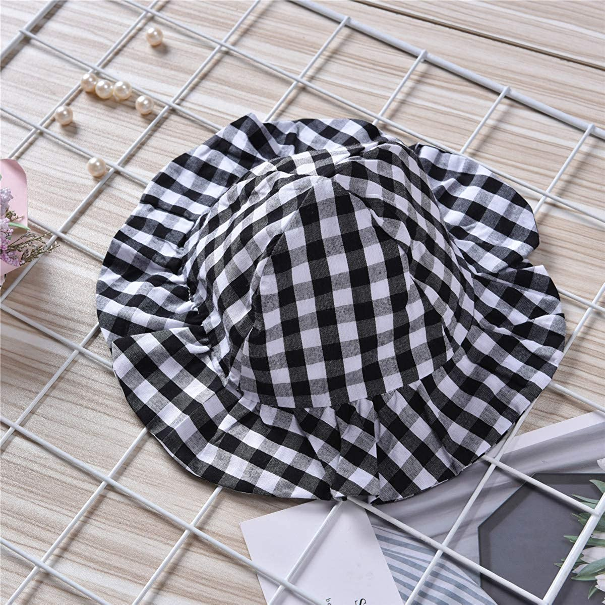 2Pcs Baby Girls Toddler Black White Plaid Ruffle Peplum Outfit Hat Pant Short Set