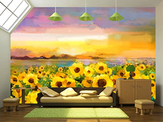 - Oil painting yellow- golden Sunflower, Daisy flowers