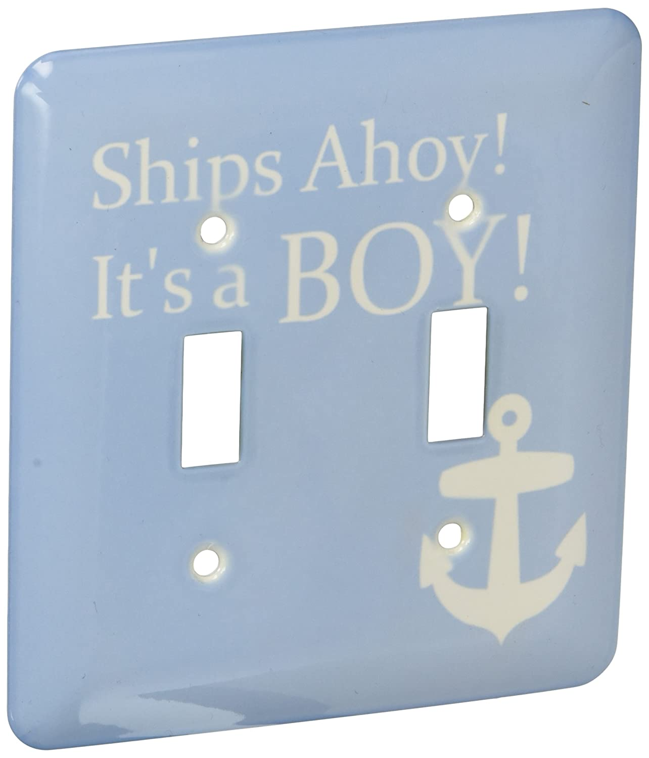 3dRose lsp_151388_2 Ships Ahoy Its A Boy For Baby Showers Light Powder Blue with White Anchor Sailor Nautical Theme Double Toggle Switch
