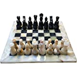 Marble Chess Set - Light and Black Board with Velvet Box - 12 in. board