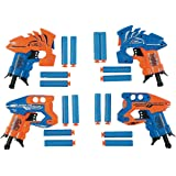 4 Pack Dart Blaster Gun And Darts Set 4.5 Inches Spring Powered Gun With 4 Suction Darts 2.5 Inches - Shooting Battle - For Kids, Toys, Great Party Favors, Bag Stuffer, Fun, Gift, Prize - By Kidsco