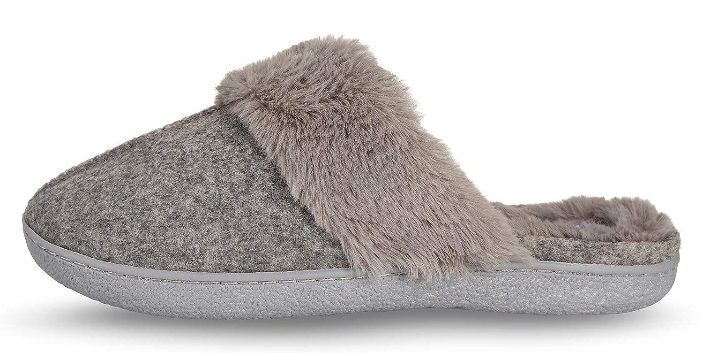 d72eca5afba Floopi Womens Indoor Outdoor Soft Felt Fuax Fur Lined Open Back Slipper W Memory  Foam larger image