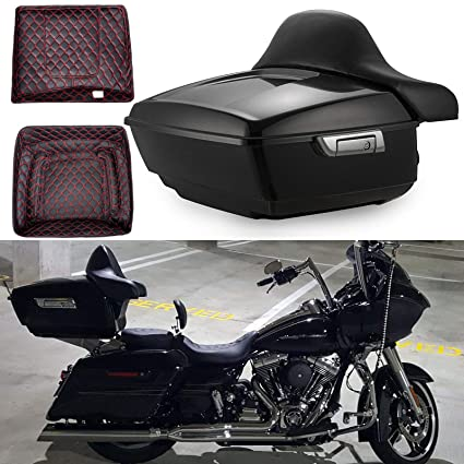 US STOCK! Vivid/Glossy Black Advanblack King Size Tour Pack w/Red Liners  Tour Pak Fit for Harley Davidson Street Glide Special Road Glide Electra