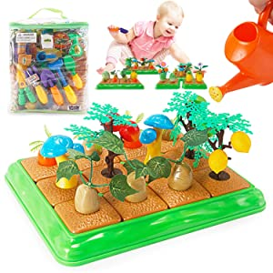 Grow Your Own Little Garden Toy Building Playset   Growing Vegetables Farming Educational Activity for Kids   Includes Plastic Gardening Tools, Crops, Fruits, and Accessories (96 Pieces)