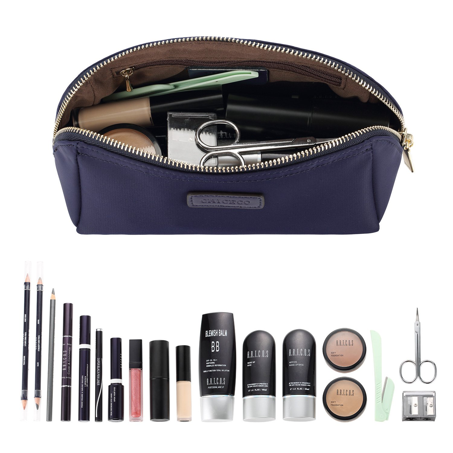 CHICECO Handy Cosmetic Pouch Clutch Makeup Bag - Navy Blue by CHICECO (Image #2)