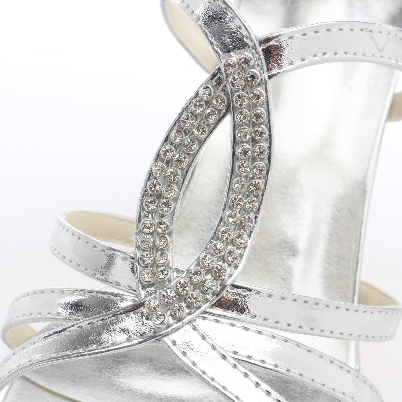 Emily Bridal Bridal Bridal Silberne Hochzeits-Sandelholze Offene Zehe Rhinestones ahmten Glatte Lederne Brautschuhe Nach b31549