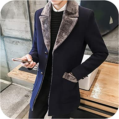 Mens Coat Slim Fit Zipper Pockets Winter Warm Casual Overcoat Wool Thick Trench Blend Coat