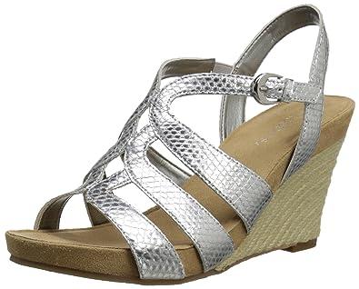 70b9fcafd1 Amazon.com | Aerosoles Women's Plush Plenty Wedge Sandal, Silver ...
