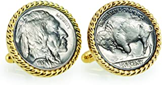 product image for American Coin Treasures Buffalo Nickel Rope Bezel Cuff Links