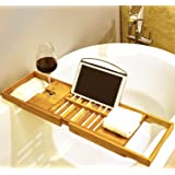 Premium Bamboo Bath Tray by Harcas. Gorgeous Extendable Bathtub Caddy with Wine Rack and iPad Holder/Book Rest.