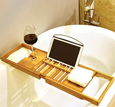 Premium Bamboo Bath Tray Rack By Harcas. Gorgeous Extendable Bathtub Caddy  With Wine Glass Holder