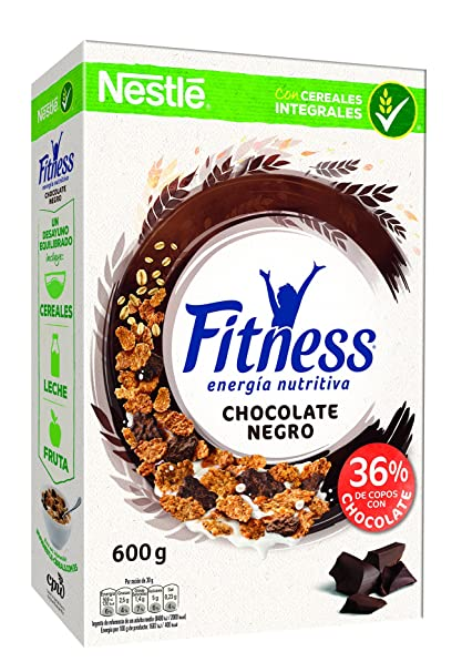 Cereales Nestlé Fitness con chocolate negro - Copos de trigo integral, arroz y avena integral tostados