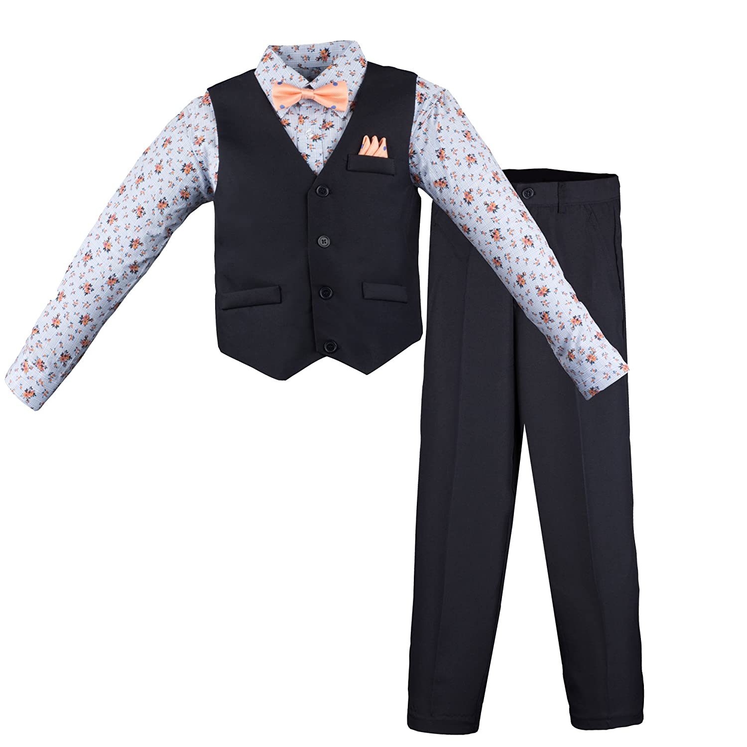 Vittorino Boys 4 Piece Suit Set with Vest Shirt Tie Pants and Hankerchief Boys-4Piece-Spring