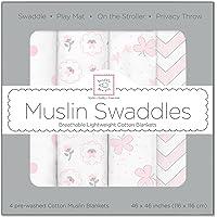 SwaddleDesigns Set of 4 Muslin Swaddle Blankets, Butterfly Fun