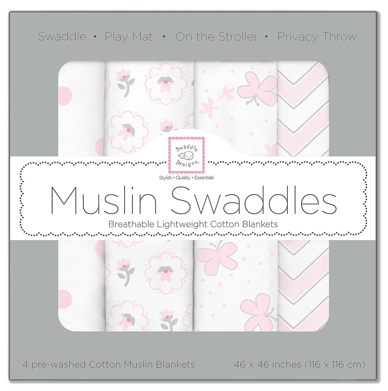 SwaddleDesigns Muslin Swaddle Blanket, Butterflies and Posies (Set of 4 in Pastel Pink) SDM-102PP