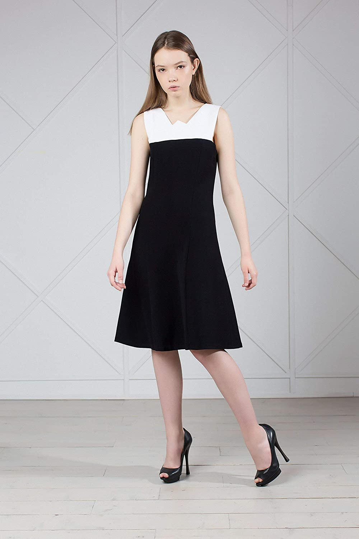 Black & White Sleeveless Midi Dress Classic for Office
