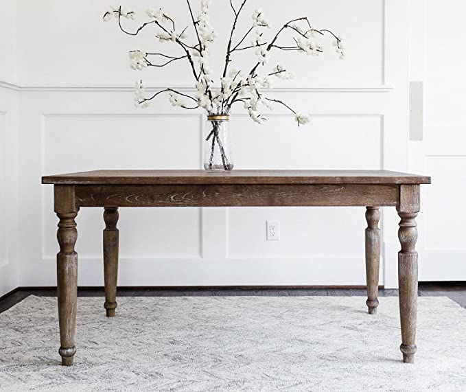 French farmhouse dining tables are hard to resist, and this EDLOE FINCH - Rustic French Rectangular table made of solid Elm is handsome and well priced! Come discover more French Farmhouse Decor inspired by Fixer Upper and click here to Get the Look of The Club House Kitchen & Sun Room. #fixerupper #joannagaines #kitchendecor #frenchfarmhouse