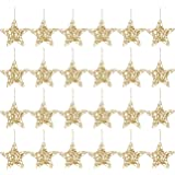 24-Pack of Christmas Tree Decorations - Star Decorations, Christmas Ornaments, Festive Embellishments, Gold - 6 x 1 x 5.7 Inches