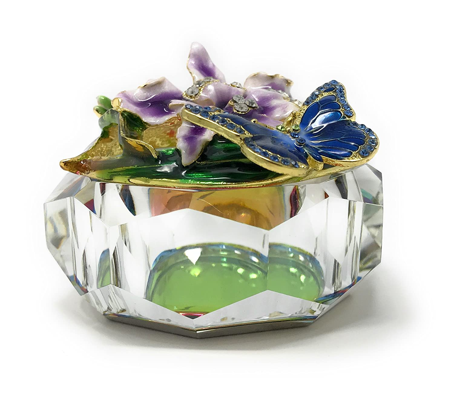 Kubla Craft Enameled Blue Butterfly and Purple Flowers with Cut Glass Trinket Box Accented with Austrian Crystals