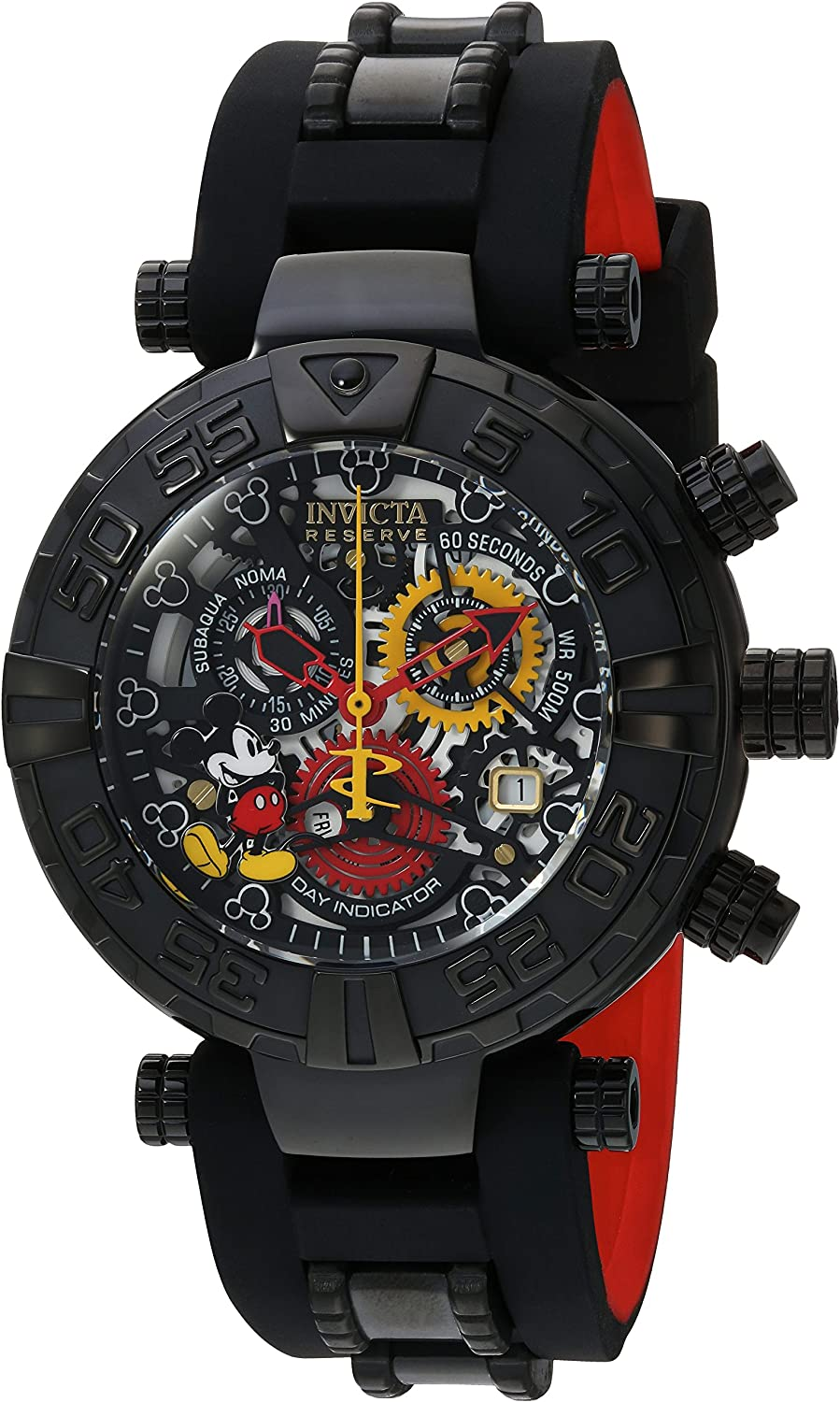 Invicta Men s Disney Limited Edition Stainless Steel Swiss-Quartz Watch with Silicone Strap, Black, 12 Model 22735
