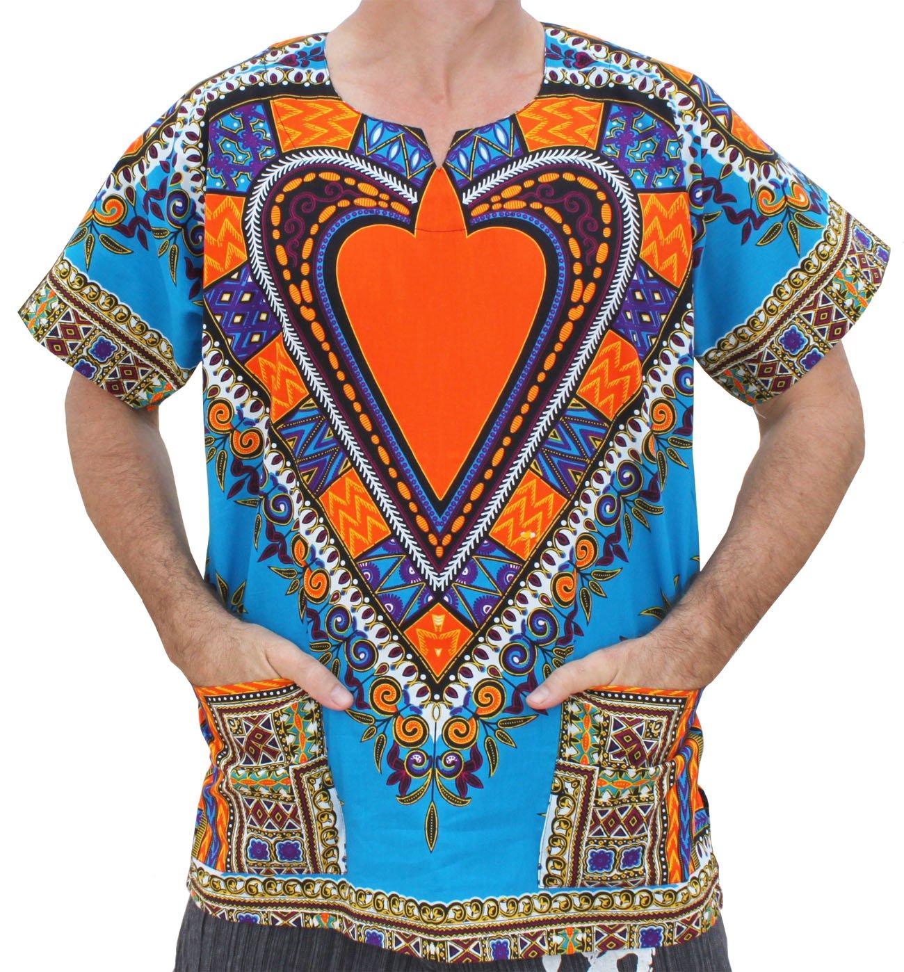 RaanPahMuang Unisex Bright Africa Heart Dashiki Cotton Plus Size Shirt, XXXXX-Large, Heart Blue