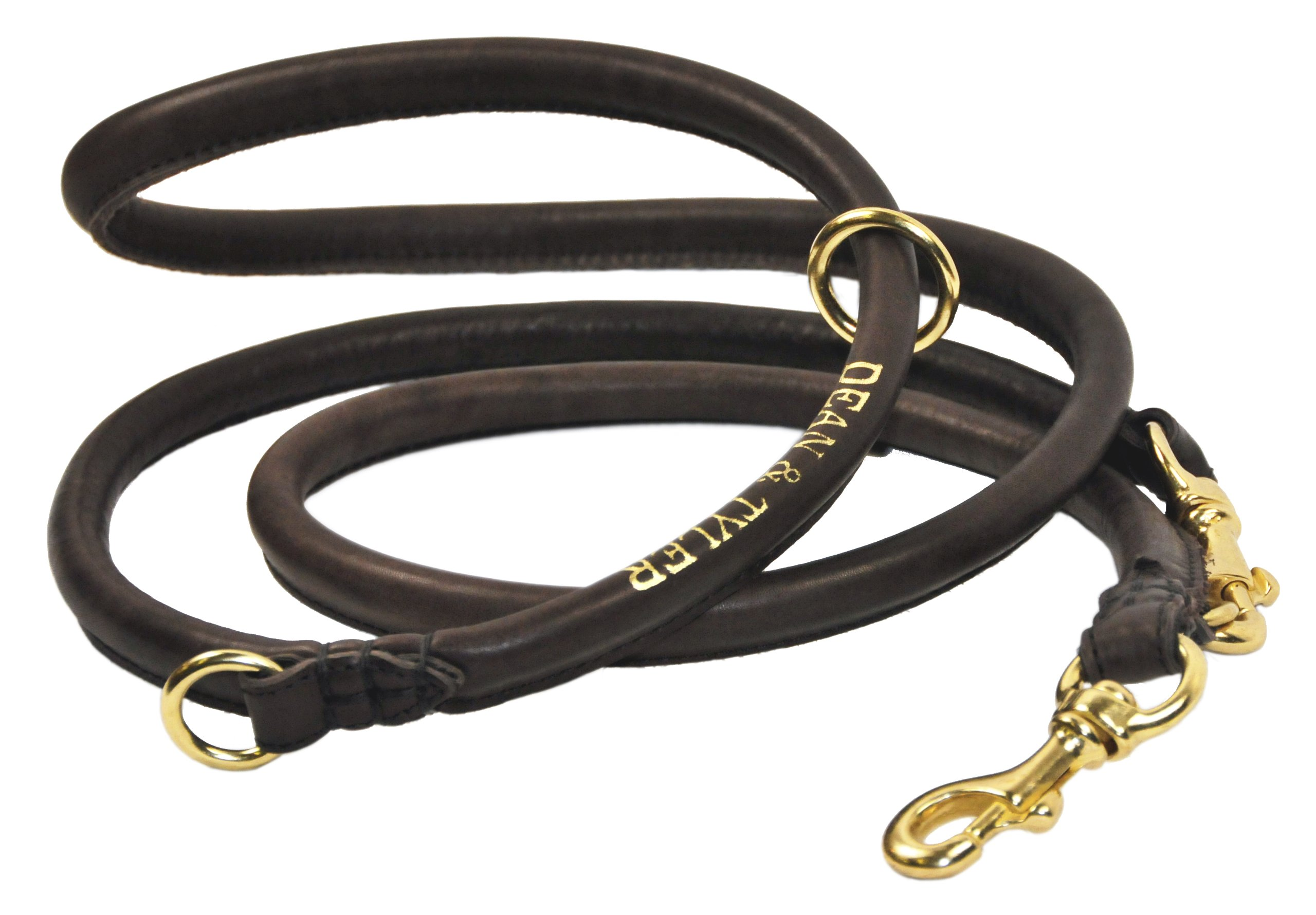Dean and Tyler Noburu Multifunctional Rolled Leash, Brown 7-Feet by 1/2-Inch Diameter With Handle And Solid Brass Snap Hooks.