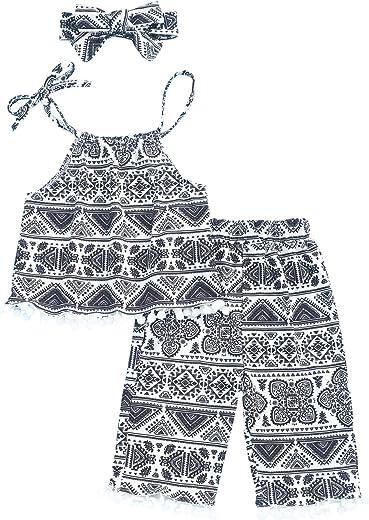 ملابس Oklady للأطفال البنات ملابس عرقية بدون أكمام وبناطيل صيفية للفتيات 3-4T