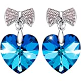 """Sivery """" Love Heart"""" Stud Earrings Made with Swarovski Crystals,Jewellery for Women"""