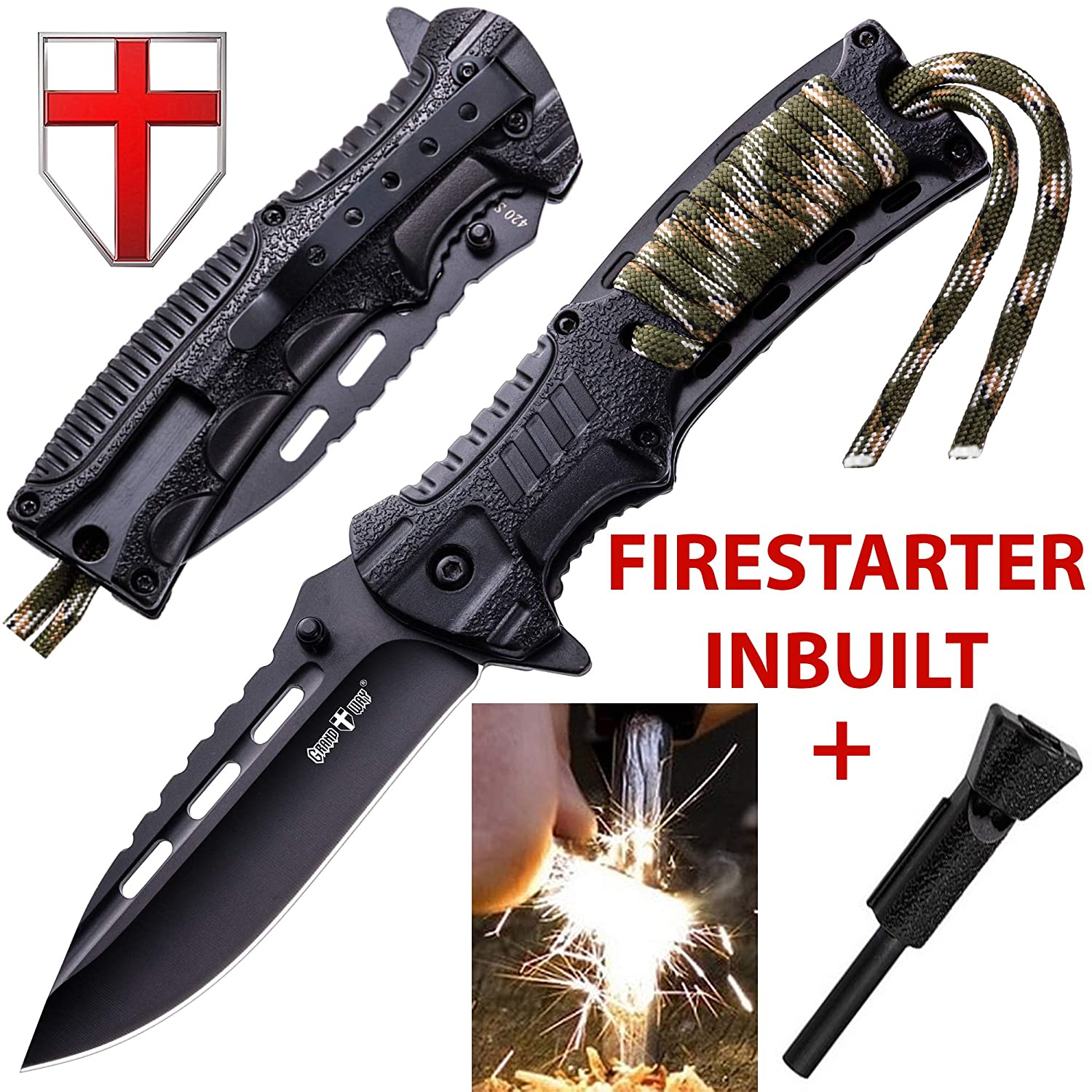 Pocket Knife - Tactical Folding Knife - Spring Assisted Knife with Fire Starter & Paracord Handle - Best EDC Survival Hiking Camping Knife for Army ...
