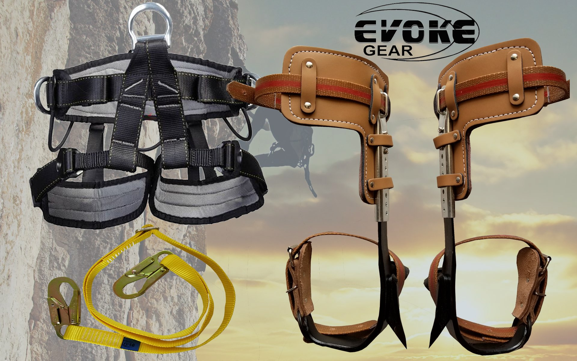 Evoke Gear Tree Climbing Spike Set Pole Climbing Spurs Climber Adjustable Harness Lanyard Short Graff