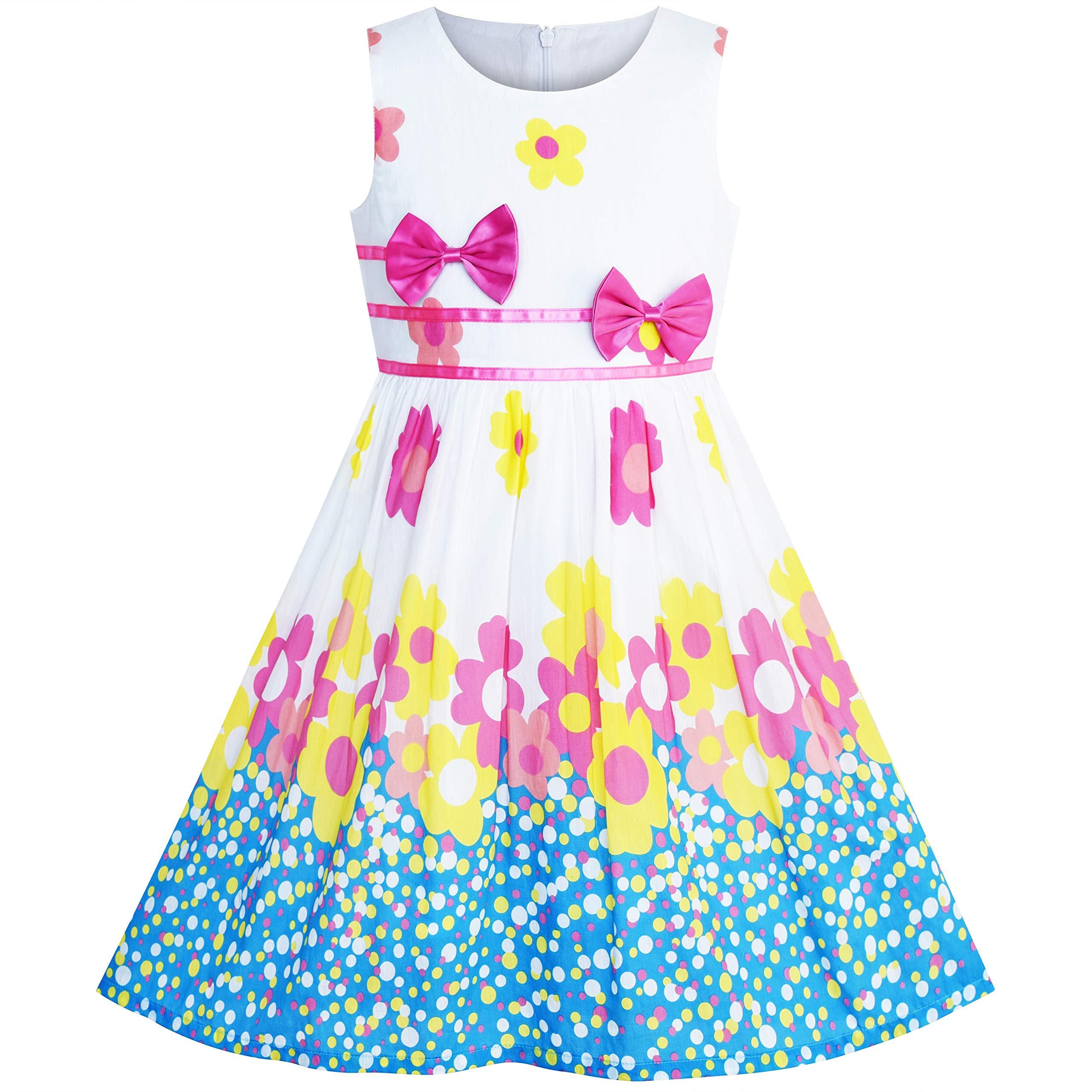 d88c56834a8d1 Sunny Fashion Robe Fille Pourpre Rose Fleur Double Nœud Papillon Partie  Enfants Robe d'été