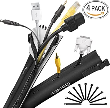 4-Pack Emarth Cable Management Sleeve with 10 Cable Ties