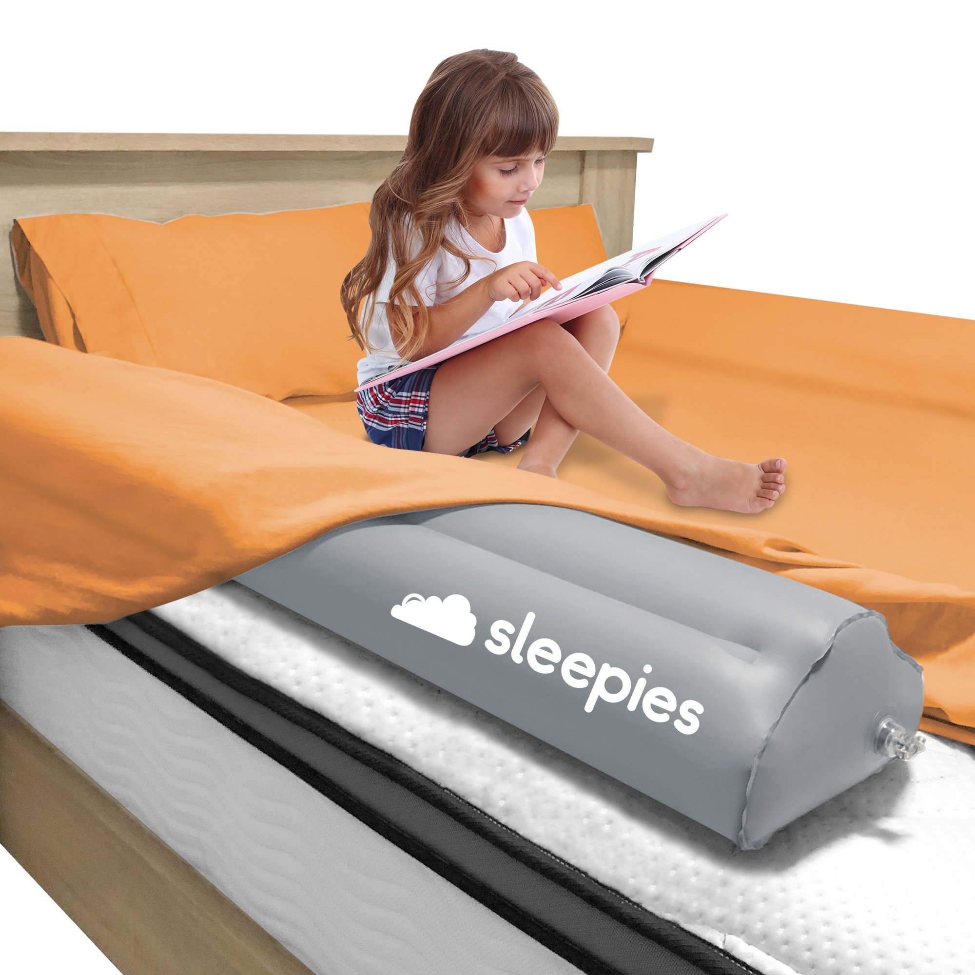 Inflatable Toddler Bed Rail - 2 Pack. Portable Kids Bed Rail Guard. Safety Bed Bumper Great for Home or Travel. Fits All Bed Sizes.