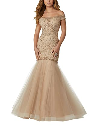 Womens Lace Mermaid Prom Party Dresses Cold Shoulder Open Back Beads Sequin Crystals Evening Dress Gold