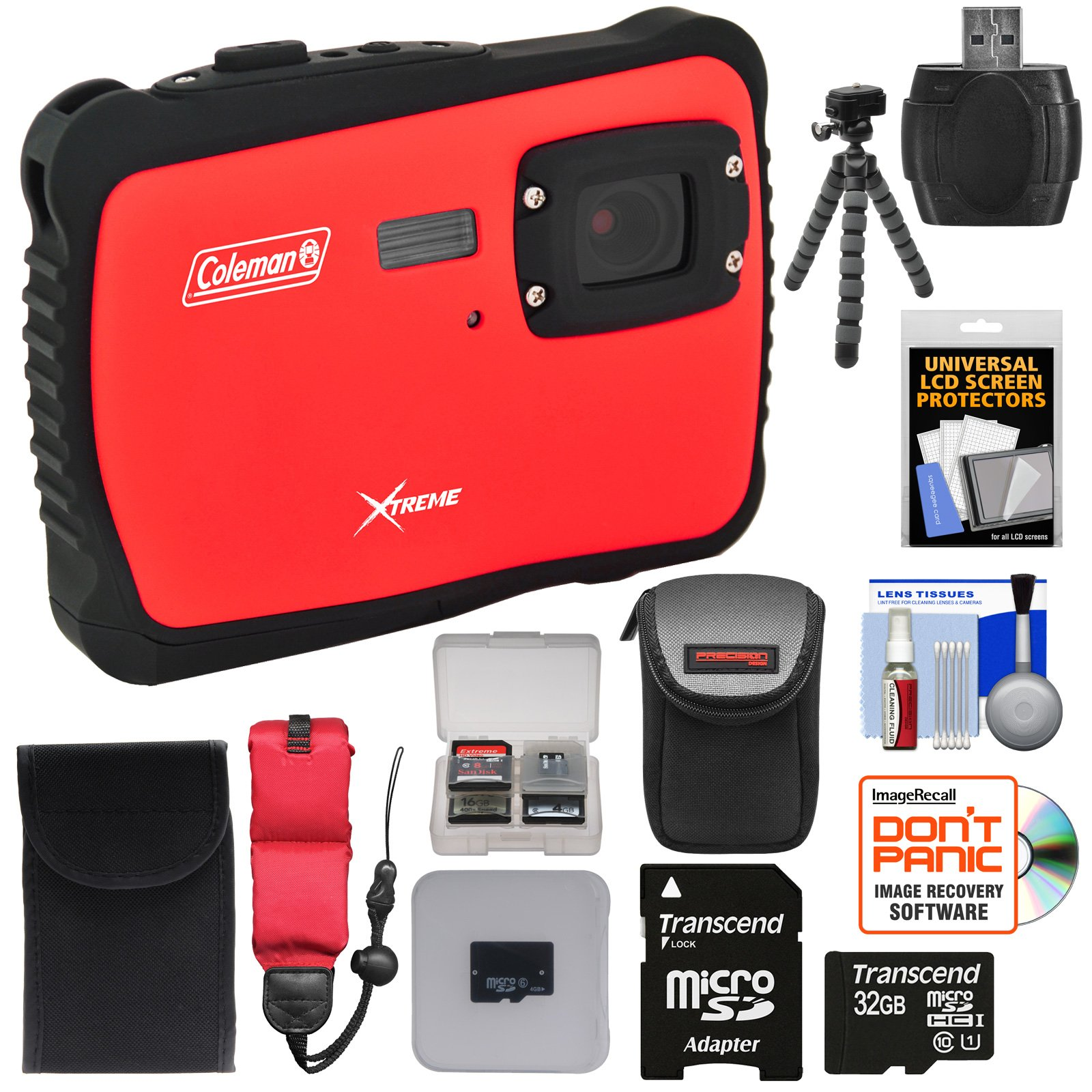 Coleman Xtreme C6WP HD Shock & Waterproof Digital Camera (Red) with 32GB Card + Case + Flex Tripod + Kit by Coleman