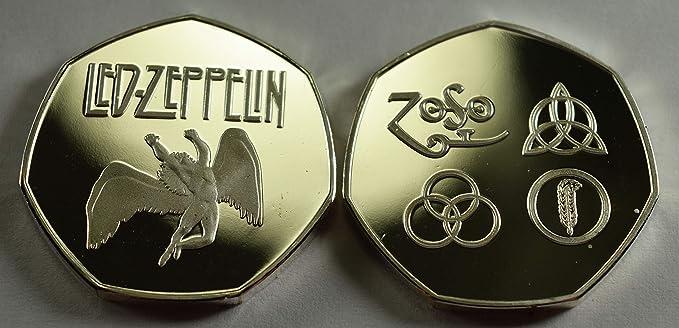 Par de LED Zeppelin Plata y Oro de 24 Quilates Monedas conmemorativas álbumes/50p coleccionistas: Amazon.es: Hogar