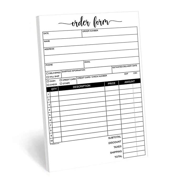 "321Done 2-Part Carbonless Order Form Pad, 50 Sets (5.5"" x 8.5"") Carbon Copy Purchase Sales Receipt Book Cute Small Size for Business Invoice - Made in The USA"