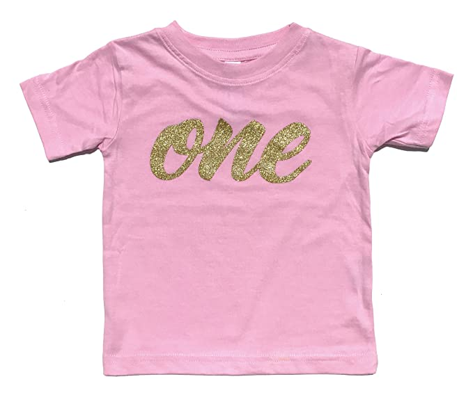 Baby Girls First Birthday T Shirt Sparkly Gold Glitter One 6M Pink