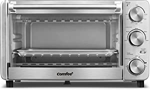 COMFEE' Toaster Oven, 4 Slice, 12L, Multi-function Stainless Steel Finish with Timer-Toast-Bake-Broil-Bagel-Warm Settings, 1100W, Perfect for Countertop