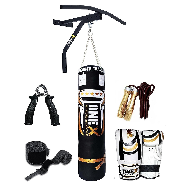 ONEX 4ft Heavy Filled Hanging Boxing Punch Bag Set Heavy MMA Training Punching