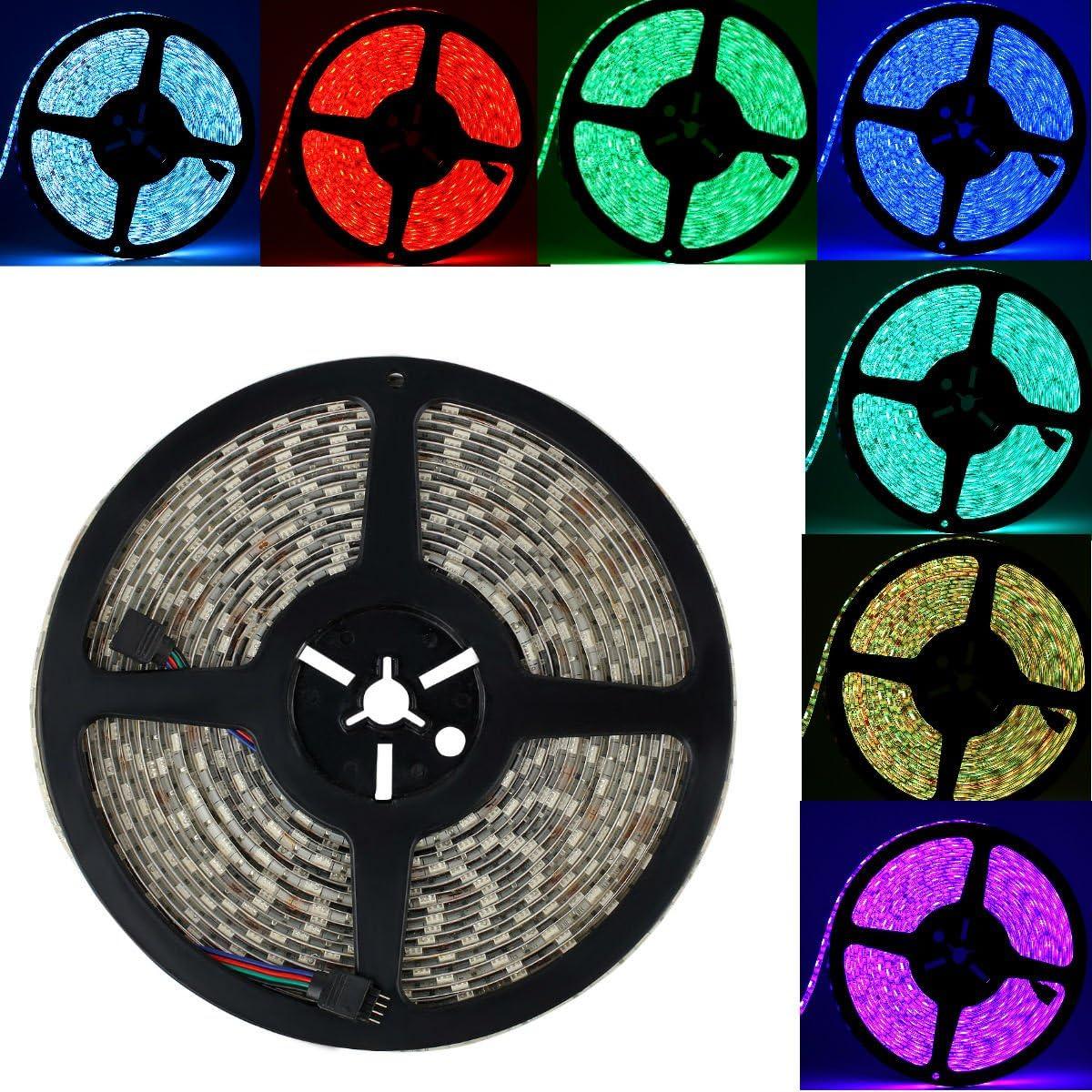epbowpt RGB Tira LED 32.8ft/10m 24V RGB LED Strip SMD 5050IP65Resistente al Agua 600LEDs el Cambio de Color 60leds/m LED Banda Barra de luz (Solo un Listones de luz)