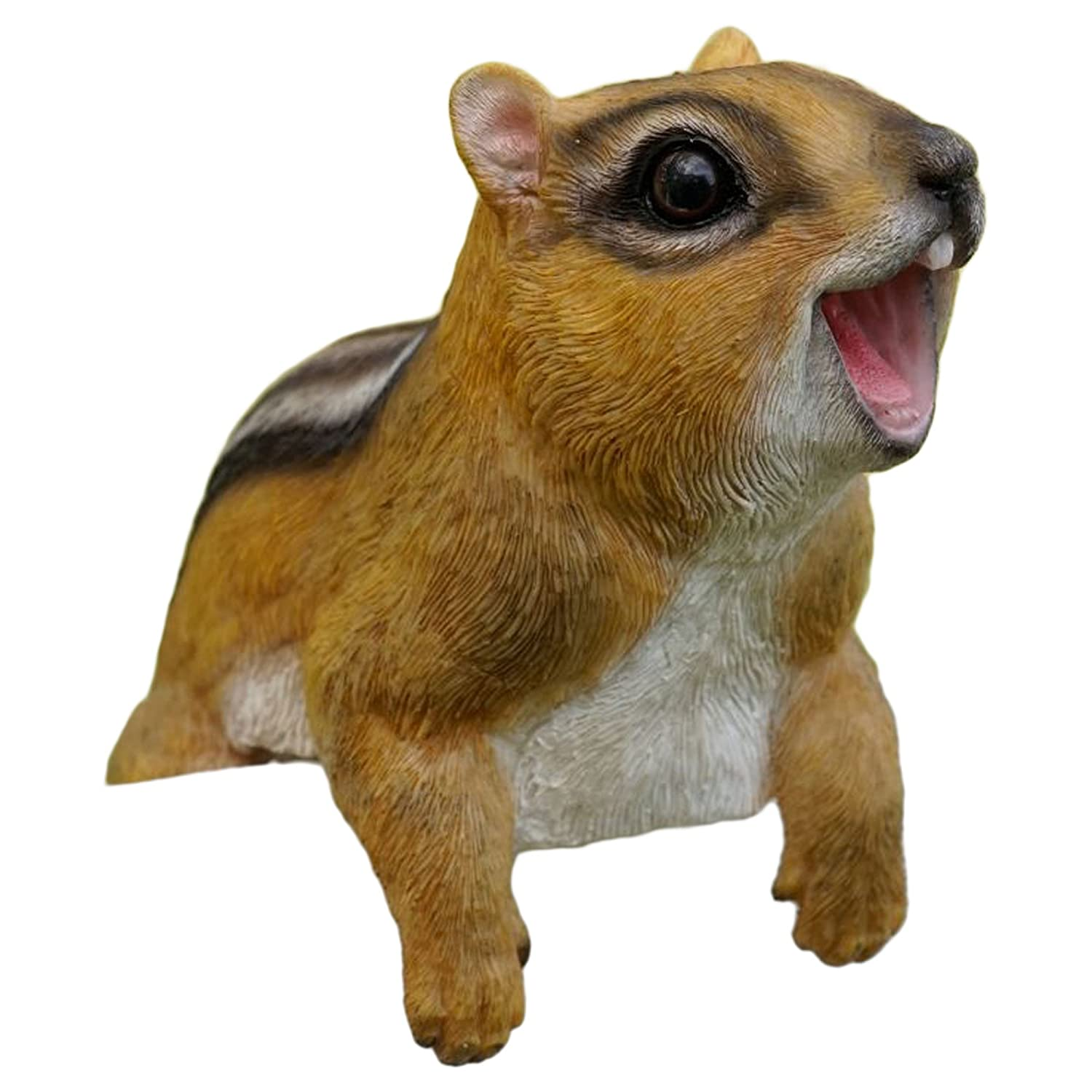 Marshall Home and Garden Playful Chipmunk Forest Brown 8 Inch Resin Stone Decorative Fence Hanger